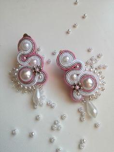 White, pink and silver clip on soutache earrings with snow white pearls and silver beads