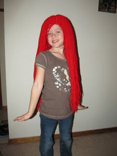 How tuesday peel and stick yarn wig yarn wig wig and stockings ariel yarn wig diy wonder how i can make a wig without sewing solutioingenieria Gallery