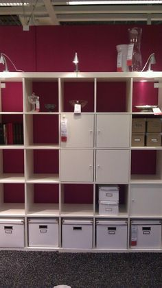 Bright Colored wall behind EXPEDIT Decor, Wall, Lockers, Storage, Locker Storage, Shelves, Shelving, Wall Colors, Color