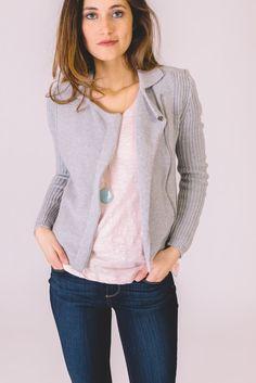 Olive & Oak.  Sweater Jacket.  Heather Grey