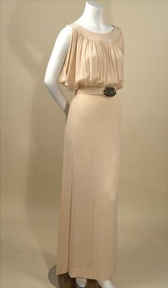 Beautiful lines! ~RP Vintage 1930s cream silk bias cut evening gown with green jeweled belt. $695~