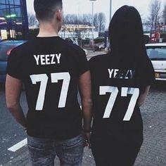 cfd6828c2d YEEZY 77 American Couples Men Women Street O-Neck Short Sleeve T-shirt -