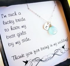 Personalized Bridesmaid Gift, sterling silver initial & birthstone necklace, Bridesmaid cards, Thanking bridesmaids