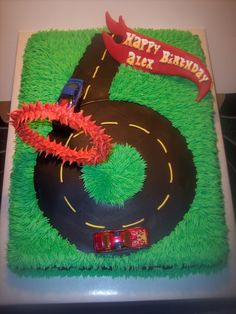 Flaming Hot Wheels This was done for a Hot Wheels enthusiasts birthday. Cars Trucks Birthday Party, Hot Wheels Birthday, Race Car Birthday, Race Car Party, 16 Birthday Cake, Birthday Tags, 6th Birthday Parties, Hot Wheels Cake, Hot Wheels Party