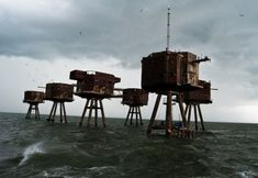 Abandon Sea Forts, built in WW2 but barely used as they were completed after the threat of German invasion had receded.