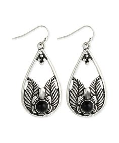 Look at this Black & Silvertone Flower Teardrop Earrings on #zulily today!