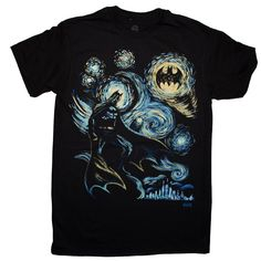 """""""Bat Gogh, The Starry Knight"""" Batman T-shirt Cotton Crew Neck Available in adult sizes, please check size chart for proper fit, thank you! Batman Comics, Dc Comics, Comic Clothes, Batman Shirt, Batman Birthday, Superman Logo, Character Inspiration, Unisex, Superhero"""