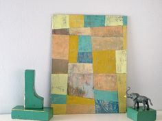 Abstract  - Turquoise, Blue, Gold, Geometric  Acrylic Painting. $75.00, via Etsy.
