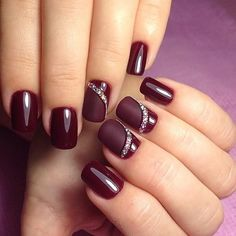Simple Toe Nails, Classy Nails, Elegant Nail Designs, Toe Nail Designs, Burgundy Nails, Red Nails, Wine Nails, Diamond Nail Art, Bridal Nail Art