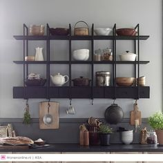 Ikea new kitchen wall shelving Falsterbo looks cool and its is very practical with shelves, drawers and hooks that allow you to keep everything in order. Interior Ikea, Kitchen Interior, Interior Design, Kitchen Decor, Rustic Kitchen, Ikea Inspiration, Ikea New, Cuisines Design, Kitchen Styling