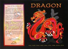 Asian Oriental Chinese Zodiac Poster Year of the Dragon: Birth Years 1916 1928 1940 1952 1964 1976 1988 2000 2012 Chinese Zodiac Dragon, Dragon Zodiac, Chinese Astrology, Chinese Zodiac Signs, Astrology Zodiac, Astrological Sign, Aries, Aquarius, Dragons