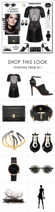 """""""Principles of lust"""" by zabead ❤ liked on Polyvore featuring David Koma, Givenchy, Salvatore Ferragamo, Alexis Bittar, Katie Rowland, Komono, Mykita and Gucci"""