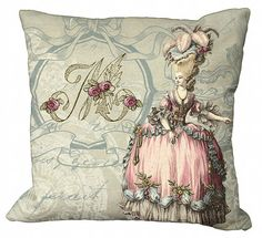 Marie Antoinette & a monogram—so much goodness on a pillow