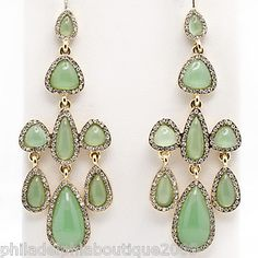 Nolan Miller Theatrical Chandelier Earrings Green Cabochons Clear Crystals New | eBay