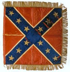 One of three silk battle flags made in September 1861 upon approval of the design. Made in 1861 by Hetty Cary of Baltimore, MD, presented to Gen. Johnston in December 1861, and used as his Headquarters flag'