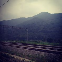 korean mountains countryside train