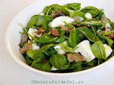 salata de spanac cu ciuperci Stevia, Spinach, Dishes, Vegetables, Cooking, Health, Recipes, Food, Dressings
