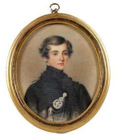 Circle of Adam Buck (Irish, 1759-1833) A young Officer, wearing black uniform with silver belt plate of the Rifle Brigade. Pencil & watercolour on paper, gilt-wood frame; Oval, 134mm (5 1/4in)