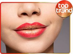 """hi beauties, red-gold ombré lips are the ideal style for any christmas party! you need the following essence products to create this look: - XXXL shine lipgloss """"28 pretty in hibiscus"""" - lipstick """"01 frosted"""" - lipliner """"14 femme fatale"""" applied as a topper, the """"all about sunrise"""" eyeshadow palette ensures a shimmering, golden finish. how do you like this ombré trend?  #essence #cosmetics #lips #lipstick #lipliner #lipgloss #ombrelips"""