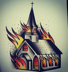 #traditional #tattoo #church #fire