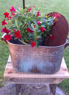 I bought this galvanized container with the lid at a yard sale! I'm loving it!!