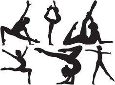 силуэт девушка-гимнастка