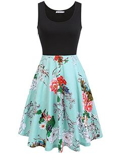 fd7777aef36 Macr Steve Women s Summer Sleeveless Floral Vintage Swing Cocktail Party  Dress at Amazon Women s Clothing store
