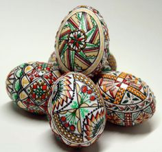 Traditional hand painted Easter Eggs, set of 5