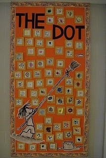 """Read the bookThe Dot and we talk about how art can startwith a simple dot. Each child then gets to make a dot of theirown. When they are finished we glue it to a gold colored paper and use gold marker to make swirls. They frame it in """"swirly gold"""" just like the art teacher in the story does."""