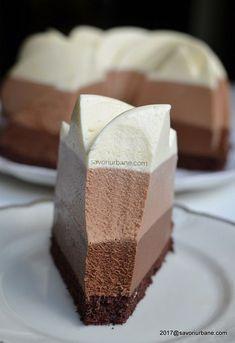 Tres Chocolates, Fondant Decorations, Tasty, Yummy Food, Sweet Desserts, Dessert Bars, Mini Cakes, Vanilla Cake, Chocolate Cake