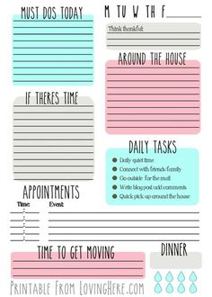 To do lijst om af te printen bij thuiswerk -Free Daily To Do List, To Do Planner, Daily Planner Pages, Free Planner, Planner Layout, Weekly Planner, Happy Planner, 2015 Planner, College Planner, Daily Planners