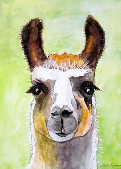 Original Llama Watercolor Artwork by MYDOTSHOP on Etsy
