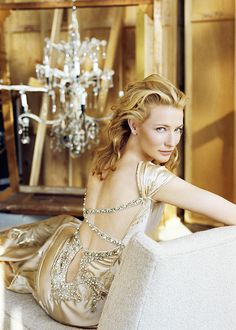 Gorgeous jewelled back detail for a backless dress, modelled by the equally gorgeous Cate Blanchett
