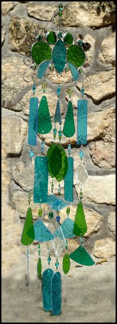 """Stained Glass Windchime in Aqua & Green - 36"""" long _ $169.95 -  - Stained Glass Sun Catchers, Stained Glass WindChimes, Handcrafted Stained Glass Designs, Suncatchers - From Accent on Glass - www.AccentonGlass.com"""