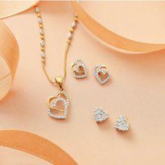 Jewelry Design Earrings, Gold Jewellery Design, Fashion Jewelry Necklaces, Heart Jewelry, Necklace Designs, Fashion Necklace, Bridal Jewellery, Pendant Earrings, Bridal Rings