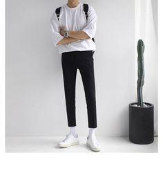 Buy Real Boy Short-Sleeve Crewneck T-Shirt - Man Fashion Stylish Mens Fashion, Korean Fashion Men, Stylish Mens Outfits, Fashion Mode, Fashion Outfits, Casual Outfits, Black Outfits, Fashion Edgy, Classy Outfits