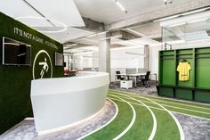 Onefootball in Berlin is a sports-themed office space with its own indoor running track Gym Interior, Office Interior Design, Office Interiors, Gym Design, Floor Design, Retail Design, Bureau Design, Workspace Design, Sports Office