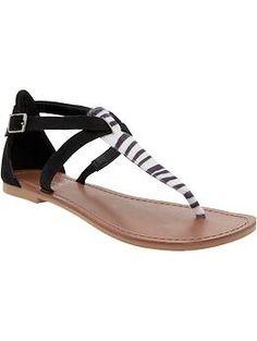 Women's Animal-Print T-Strap Sandals | Old Navy