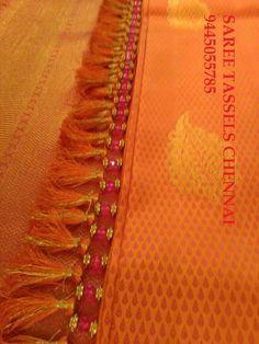 tassels for saree Saree Tassels Designs, Saree Kuchu Designs, Saree With Belt, Saree Accessories, Kutch Work, Simple Blouse Designs, Saree Border, Designer Blouse Patterns, Saree Collection