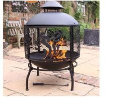 Fire Pit Outdoor Patio Fireplace Heater Decking Garden Stove Table Bowl Scroll