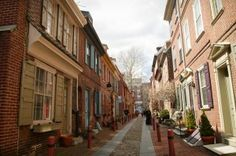 Row Houses on Elfreth's Alley date to the eighteenth century.  (Photograph for The Encyclopedia of Greater Philadelphia by Jamie Castagnoli)