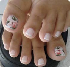 French pedicure with accent floral nail art. French pedicure with accent floral nail art. Pink Toe Nails, Pretty Toe Nails, Cute Toe Nails, Feet Nails, My Nails, Flower Toe Nails, Purple Nail, Green Nail, Toe Nail Art
