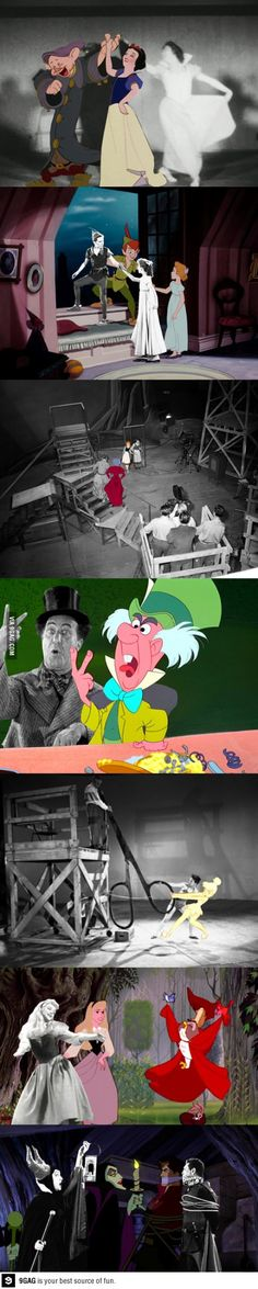 Disney animations spliced with the actors posing for reference. This is so cool!