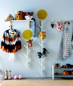 Animal dress up clothes hanging in a hallway Decoration Inspiration, Room Inspiration, Casa Kids, Nursery Decor, Room Decor, Kid Spaces, Kids House, Girls Bedroom, Baby Room