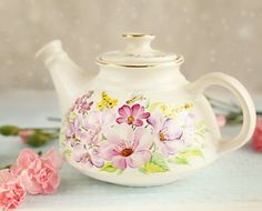 'The Flower Collection' Handmade/painted Ceramic Teapot | Catalogue of St Elisabeth Convent