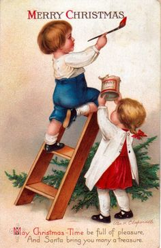 Vintage Christmas Card @Myrto Anagnostopoulou Petrou; Joyeux Noël .