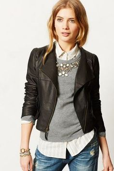 I like the jacket and the ides of the layers. Don't like shirts and sweaters with bling on them. Add it with jewelry.