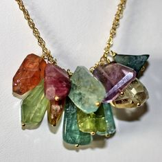 Mezcla Necklace with tourmaline, sapphires, prenhite, amethyst, Crysoprase, and moss aquamarine.