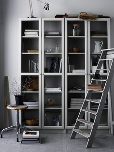 The elegance of a grey bookcase
