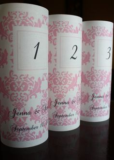 Pink Damask Table Number Luminarias by thepaperynook on Etsy, $2.75